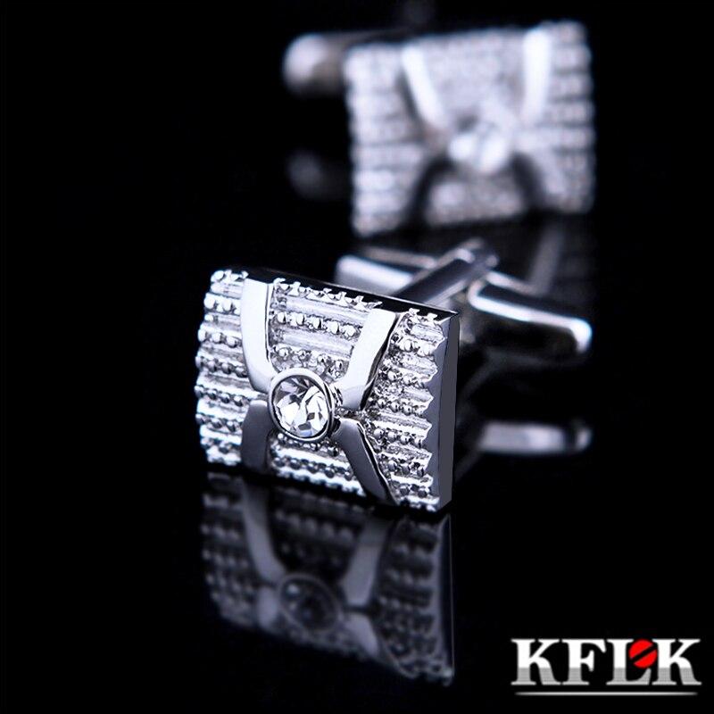 KFLK Bijoux chemise boutons De manchette de Mode pour hommes Marque Argent boutons de manchette En Gros Bouton De Luxe de Haute Qualité Cristal Livraison Gratuite