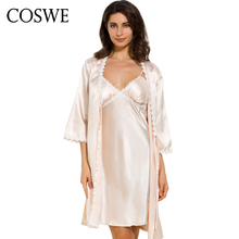 COSWE Satin Silk Womens Bathrobe Set Sexy Nightgown Dress Skirt Suit For Women Robe Sets Dressing Gown Suits Wedding Bathrobes(China)