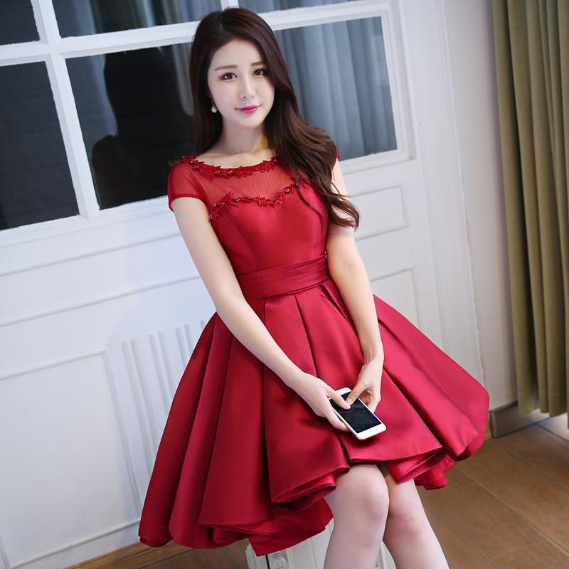 robe-de-soiree-Pink-Satin-Ball-Gown-High-Low-Arabic-Evening-Dresses-2016-Front-Short-Long (1)