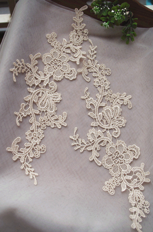cream lace applique by pairs, venice lace applique, champagne lace aplique 10pair