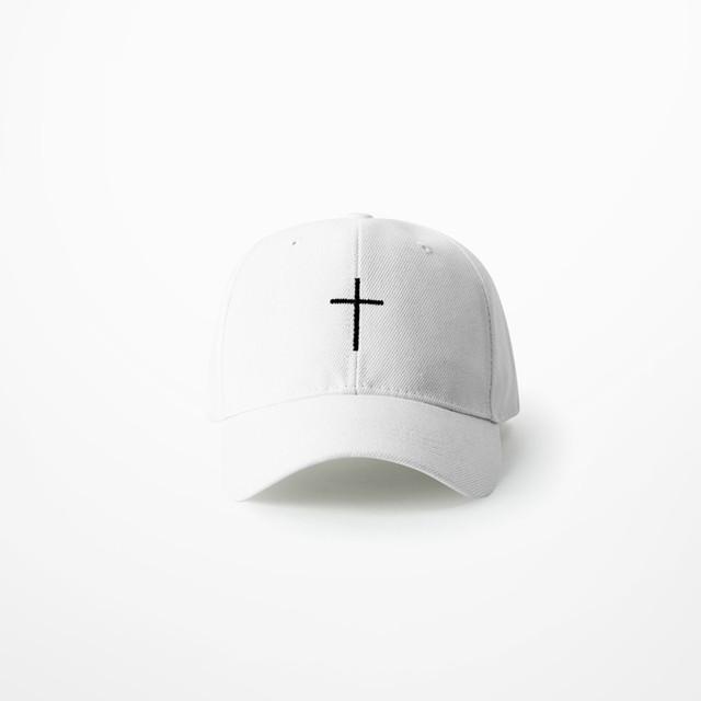 2019 Summer Fashion Simple Cross Embroidery Baseball Cap  Dad Caps Bent Visor Hip Hop Streetwear Black White Hat For Man