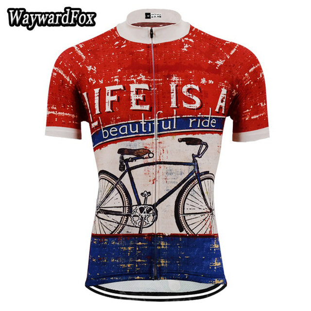 NEW Summer bike Jersey Vintage Red   dark blue Cycling Jersey Men s Cycling  Clothing Team Riding wear Bicycle Sports Shirt ee798e401