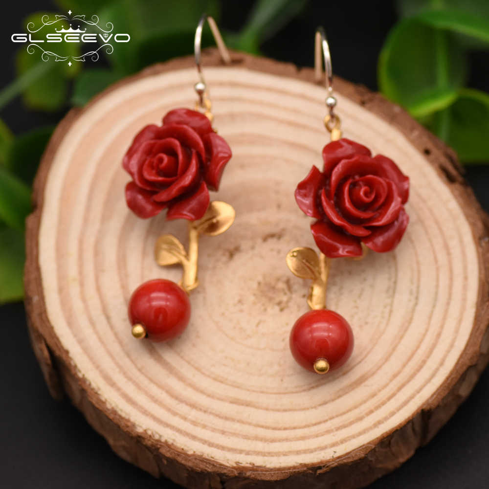 GLSEEVO Natural Red Coral Flower Beautiful Dangle Earrings For Women Red Agate Drop Earring 925 Sterling Silver Jewellery GE0417
