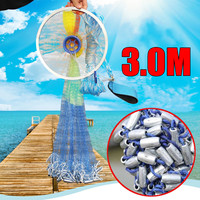 Aluminum ring USA cast nets 3.0m easy throw fly fishing net tool small mesh outdoor hand throw catch fish network
