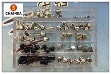 Envío Gratis 1 Unidades Impermeable de Acero Inoxidable Full Metal Plata/Negro Empujador Reloj/Corona para la Reparación Del Reloj