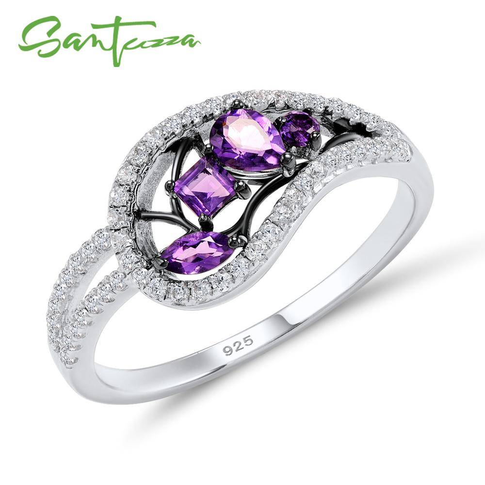 SANTUZZA Silver Rings For Women 925 Sterling Silver Natural Purple Stones for Ladies Cubic Zirconia Ring Party Fashion JewelrySANTUZZA Silver Rings For Women 925 Sterling Silver Natural Purple Stones for Ladies Cubic Zirconia Ring Party Fashion Jewelry