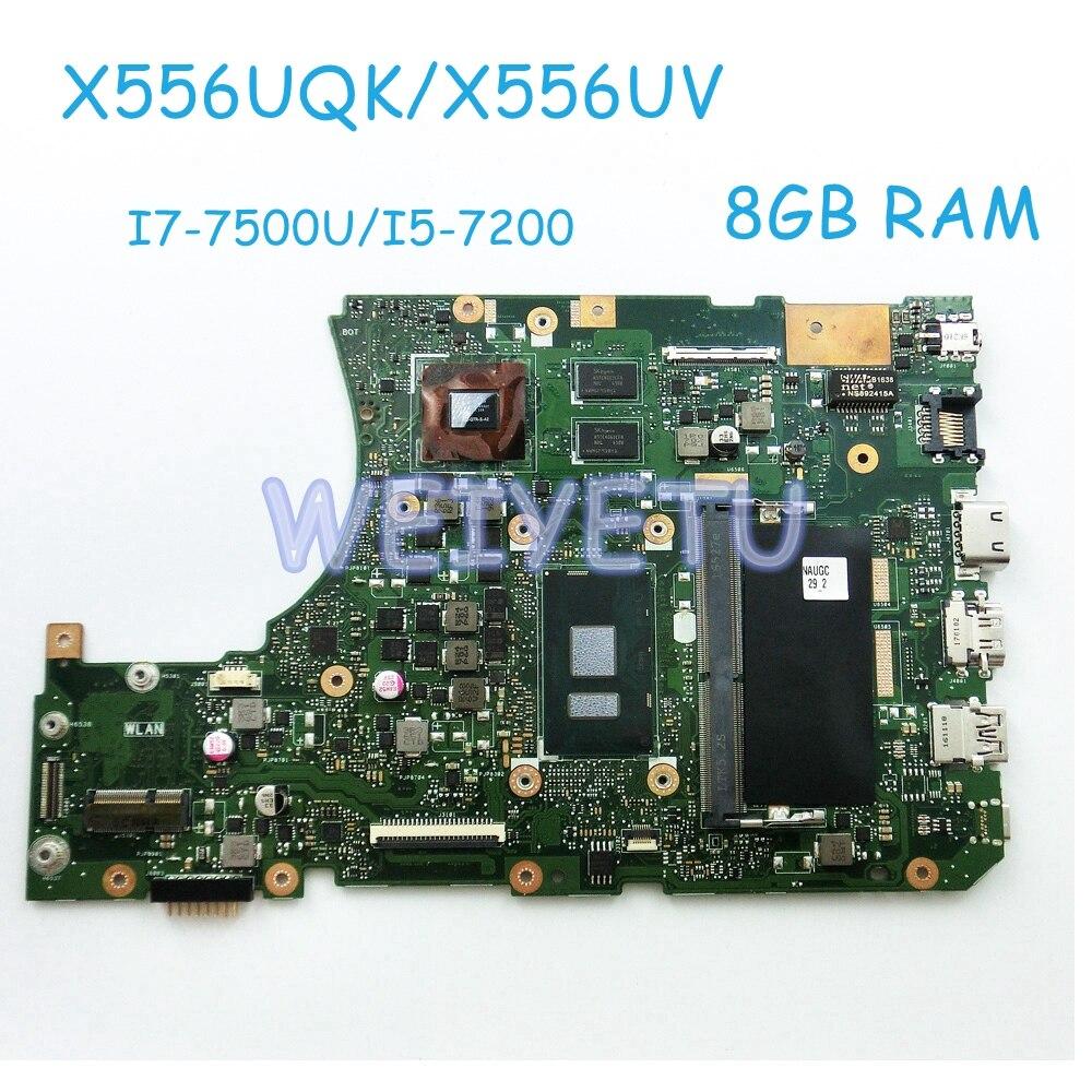X556UQK MB 8G I7 7500U I5 7200 AS mainboard For ASUS X556UQK X556UV MB X556U Laptop