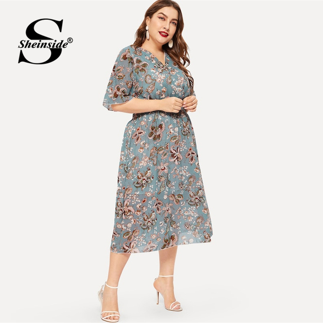 Sheinside Plus Size Elegant Floral Print Chiffon Dress Women 2019 Summer V Neck Elastic Waist Dresses Ladies Straight Midi Dress 4