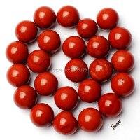 Envío libre 16mm rojo natural piedra redonda forma DIY suelta Cuentas Strand 15