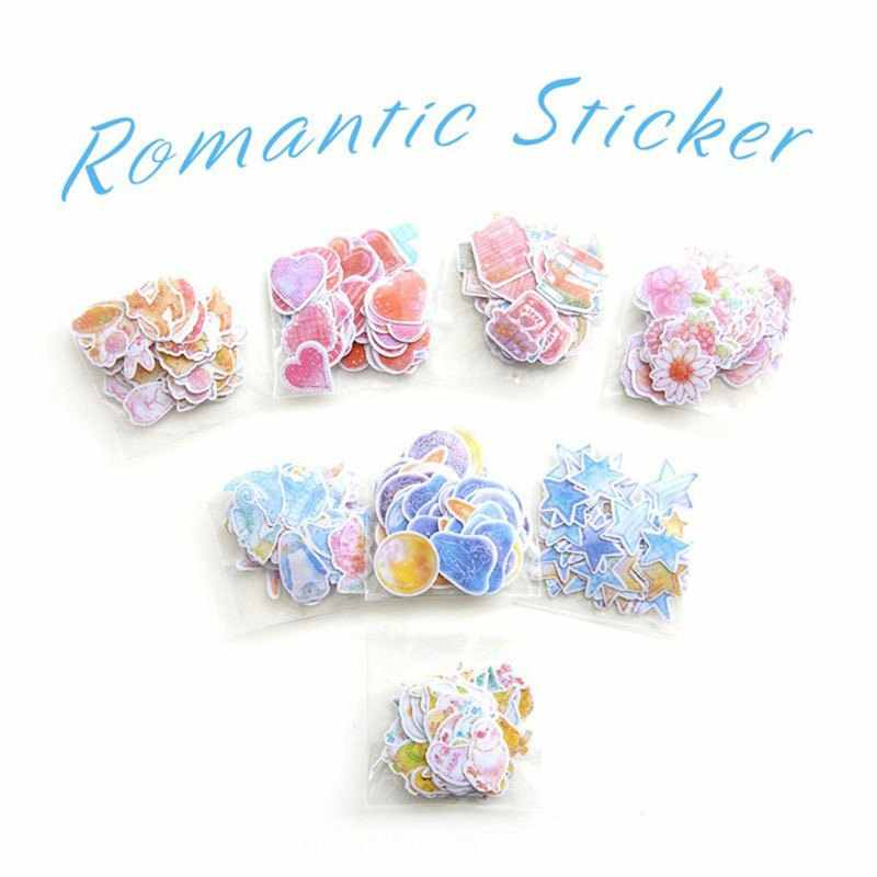 Kawaii DIY Romantic Hand-painted Watercolor Stickers Bags Pocket Book Creative Decoration Sticker 70PCS  Toys For Children Gifts