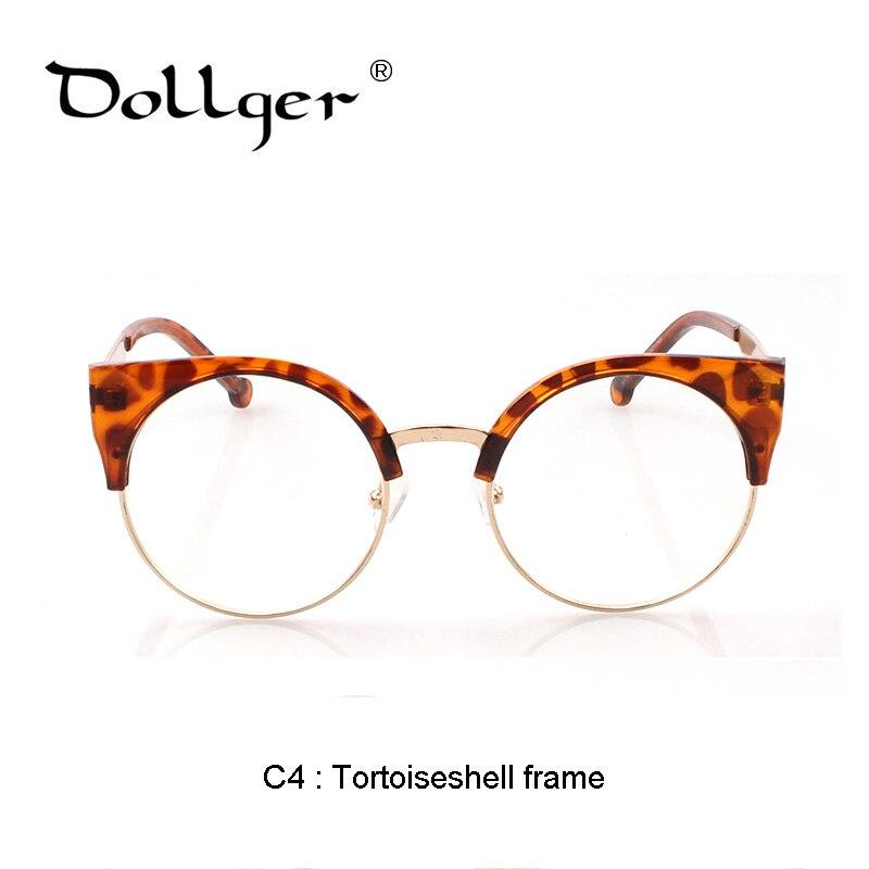Dollger Frauen katzenauge Plain Brille halb Rahmen Klare linse runde ...