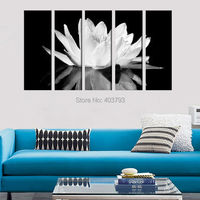Black & White Water Lily Gallery Wrapped Canvas Print Set FRAMED & READY TO HANG