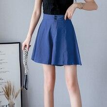 Solid Color Women Summer Casual Shorts Skirts Korean Style Elastic High Waist Wide Leg Short Pants Loose