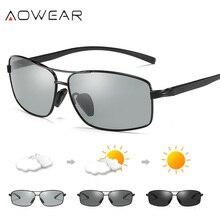 הגעה חדשה AOWEAR Photochromic זיקית צבע שינוי מעצב מותג גברים משקפי שמש מקוטב עדשת נהיגה gafas oculos דה סול