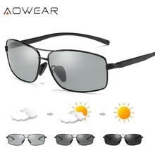 Nieuwe Collectie AOWEAR Meekleurende Chameleon Gepolariseerde Zonnebril Mannen Merk Designer Kleur Veranderen Lens Rijden gafas oculos de sol