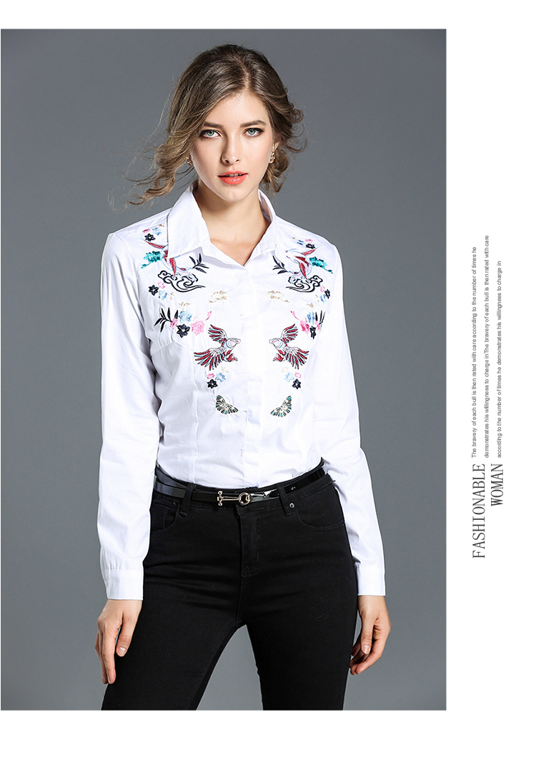 Women Embroidery Blouses Shirts Fashion Elegant Slim Office Lady Work Wear  Floral Embroidered Tops White Runway Luxury Blouses-in Blouses & Shirts  from ...