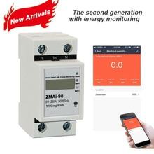 Приложение Smart Life однофазный din-рейку WI-FI умный измеритель энергии Мощность потребление измеритель kwh ваттметр 220 V, 110 В переменного тока 50 Гц/60 Гц