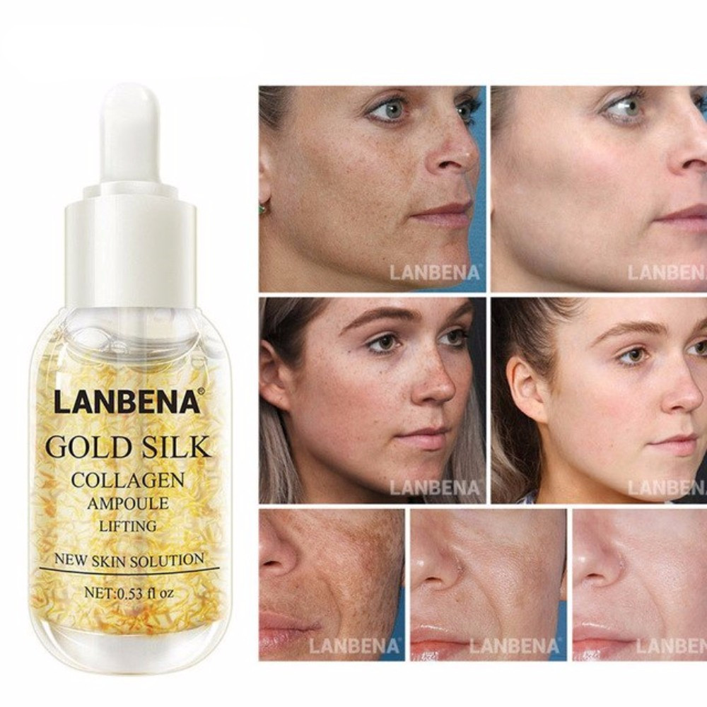 Gold/SILVER LanBeNA Silk Face Serum Collagen Ampoule Pure Foil Essence Serum Anti Wrinkle Anti-Aging Serum TSLM2