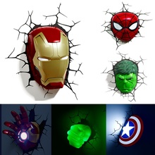 Buy marvel wall lights and get free shipping on aliexpress eycocci marvel avengers led night light 3d creative wall lamp decorated bedside aloadofball Images