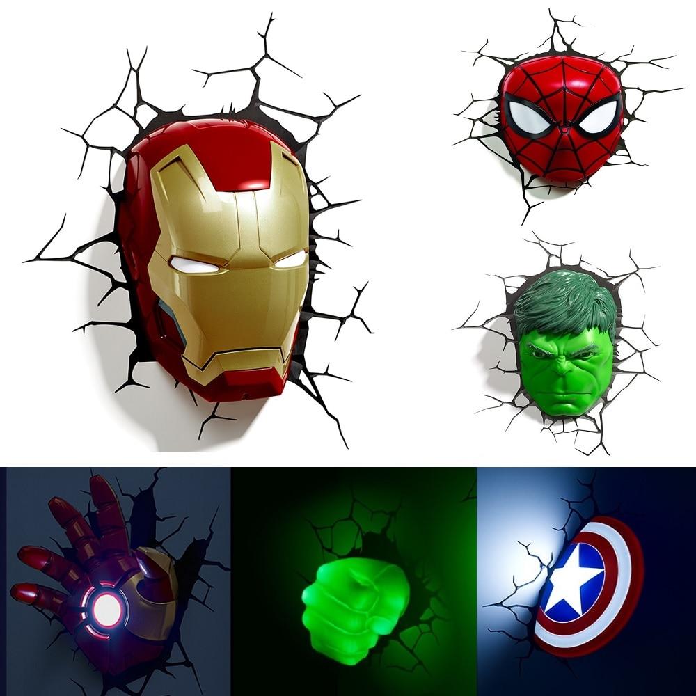 Marvel avengers LED veilleuse 3D créative applique murale décorée lampe de nuit chevet chambre salon enfants cadeau