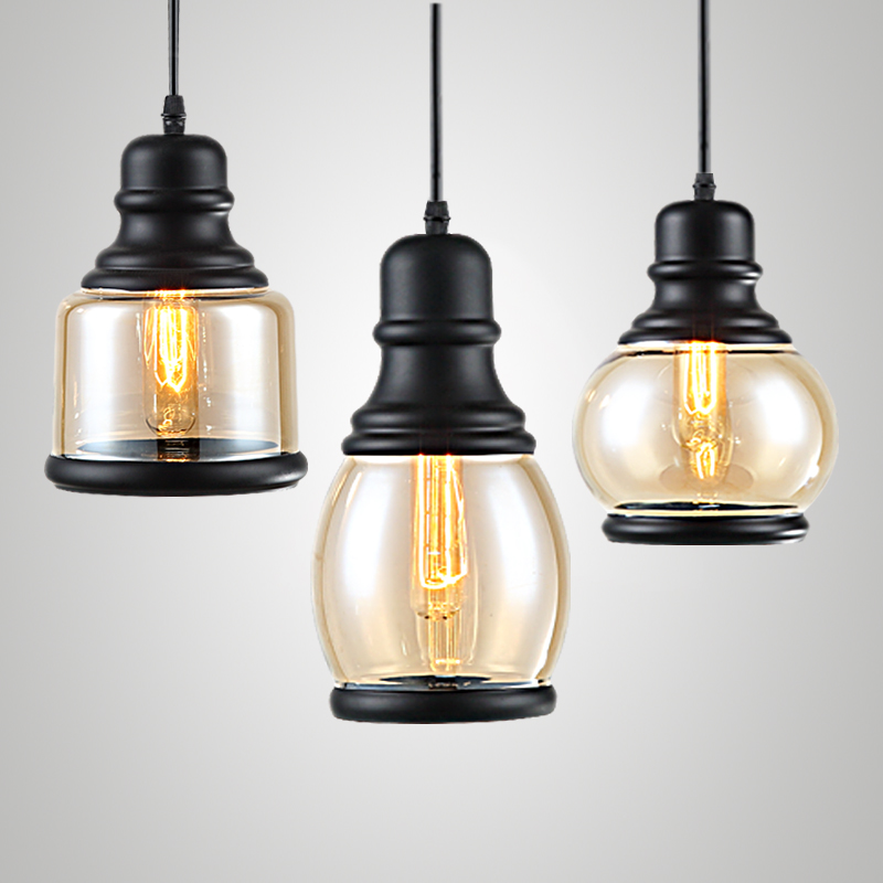 Loft Edison Vintage Retro Cystal Glass Black Iron Light Ceiling Lamp Cafe Dining Bar Hotel Club Coffe Shop Store Restaurant dysmorphism iron vintage edison loft ceiling light industrial pendant cafe bar
