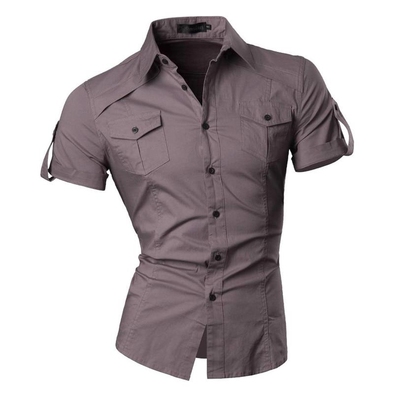 jeansian Men's Summer Short Sleeve Casual Dress Shirts Fashion Stylish 8360 5