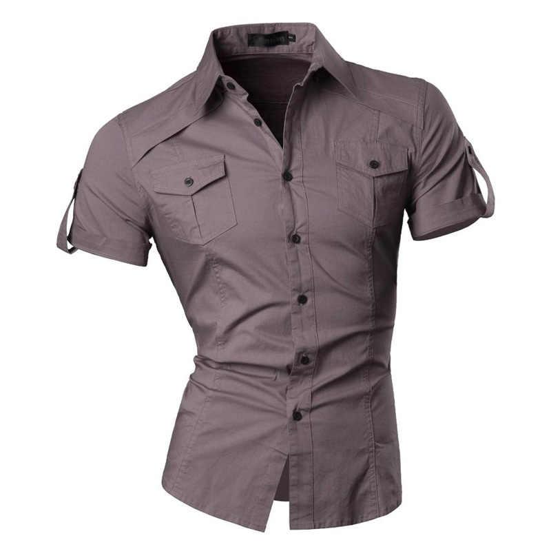Jeansian 남자 여름 짧은 소매 캐주얼 드레스 셔츠 패션 세련 된 8360