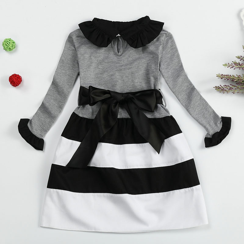 Autumn Winter Stripe Wavy Dress Bow For Girl Long Sleeve Casual Kids - Children's Clothing