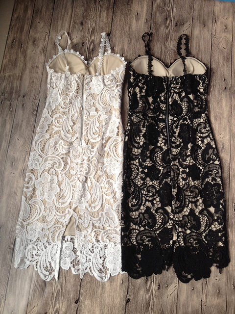 2018 Fashion Designer White/ Black Party dress Women Sexy Sleeveless Lace Crochet Hollow Out Slim Spaghetti Strap Bodycon Dress 15