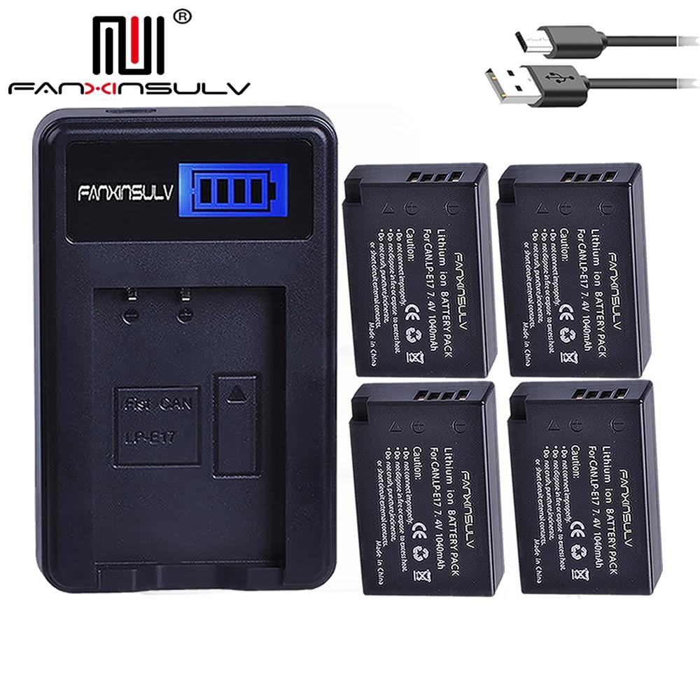 4 x LPE17 LP E17 LP-E17 Batteries + LCD USB Chargeur Pour appareil photo Canon 200D M3 M5 M6 77D 750D 760D T6i T6s 800D 810D 8000D batterie D'appareil Photo