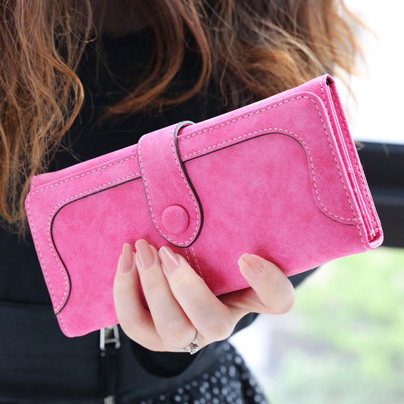 New Brand Fashion long designer Nubuck leather Stitching Women's clutch wallet hasp ladies coin purse card holder handbag