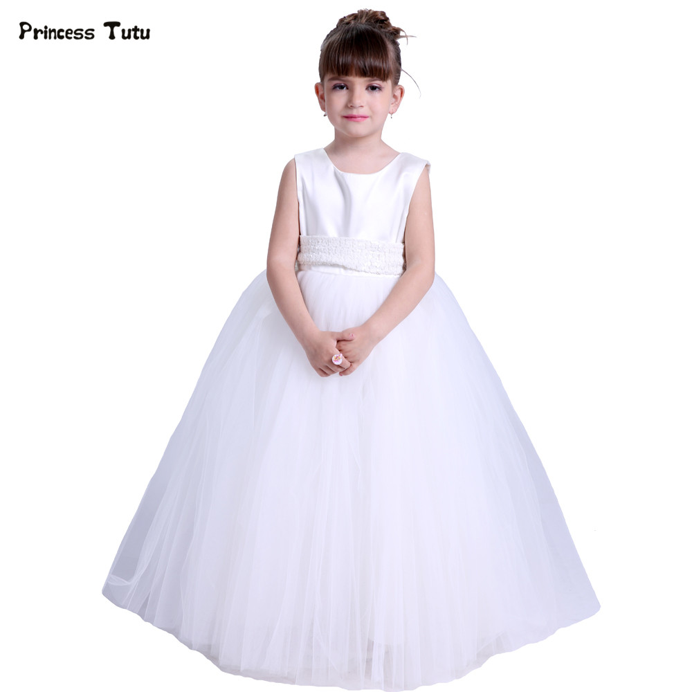 Children Ball Gown Boutique Tulle Flower Girl Dresses White Princess Tutu Dress for Kids Girls Wedding Party Formal Dress Custom