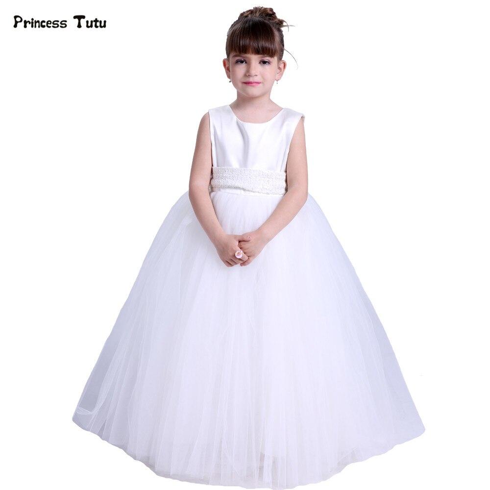 Children Ball Gown Boutique Tulle Flower Girl Dresses White Princess Tutu Dress for Kids Girls Wedding Party Formal Dress Custom