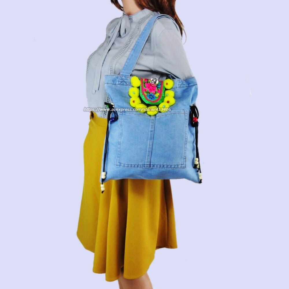Pom Borsa Viaggio Boemia Della Del Hmong Colorful Ricamo Charm 1007 Grandi Hobo Denim Borse Di Vintage Spalla Acquisto Sacchetti Da TndBqwf