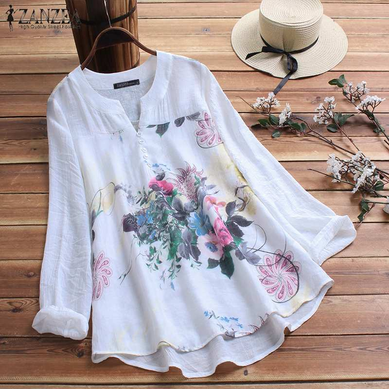 ZANZEA Elegant Printed   Shirt   Women's Autumn   Blouse   2019 Vintage Floral Casual Blusas Female Long Sleeve   Shirts   Plus Size Blusas