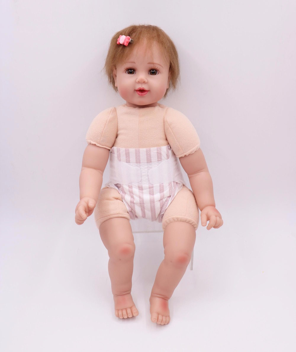 20in Long Hair Toddler Girls Reborn Baby Dolls Real Life Soft Body Silicone Toys