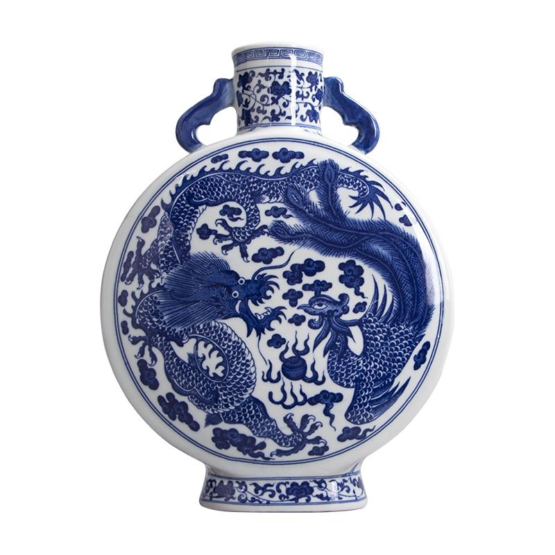 Miisoa Jingdezhen Blue and White Ceramic Porcelain Double Ears Round Vase Home Decor Dragon Phoenix Traditional Chinese VaseMiisoa Jingdezhen Blue and White Ceramic Porcelain Double Ears Round Vase Home Decor Dragon Phoenix Traditional Chinese Vase