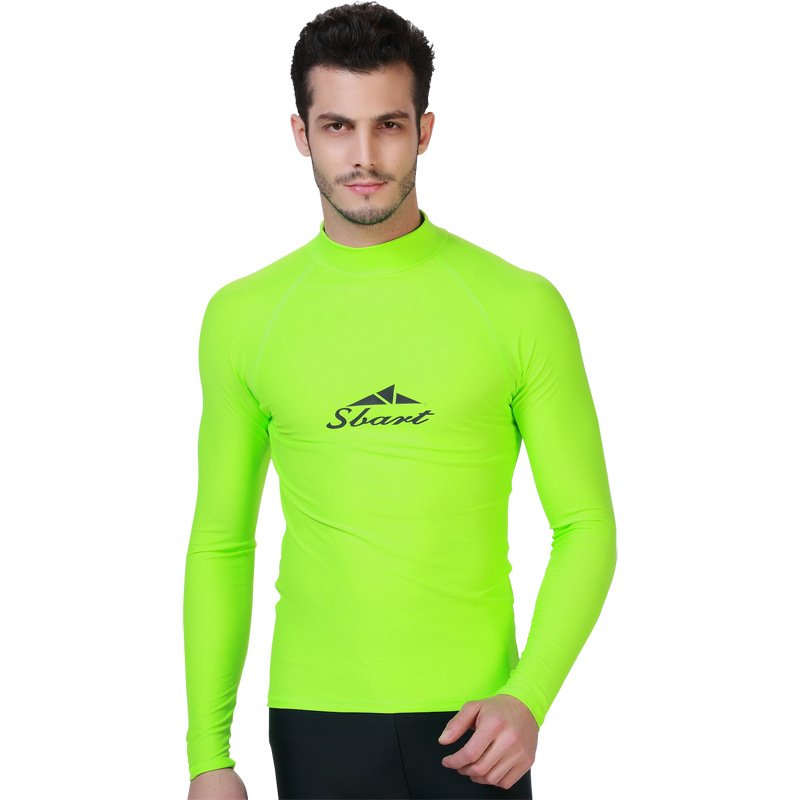 1pc Sbart Neon Green Long Sleeve Sun Protective Mens Rash Guards Wetsuits Surfing T Shirts Swimming Tops Bathing Suits 2018 Fashionable And Attractive Packages