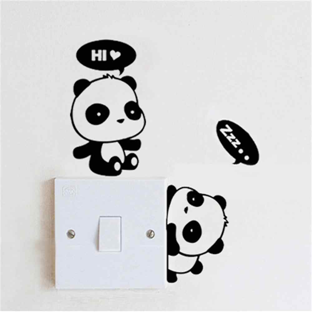 New Lovely 3pcs Carton Panda Switch Wall Stickers Window Glass for Kids Room Mural Home Decoration