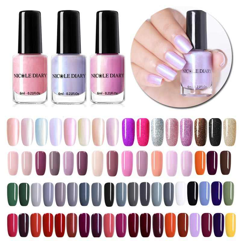 NICOLE DIARY 73 Colors Nail Polish  Red Gray Glitter Pearl Nail Art Varnish Water-based Manicure Nail Art Lacquer 6ml