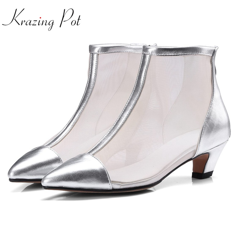 Krazing Pot 2018 cow leather air mesh zipper European style sunscreen shoes women boots med heels pointed toe summer boots L4f1