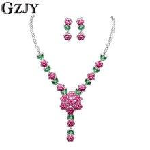 GZJY Elegant Beautiful Flowers White Gold Color AAA Zircon Bridal/Wedding Jewelry Sets For Women