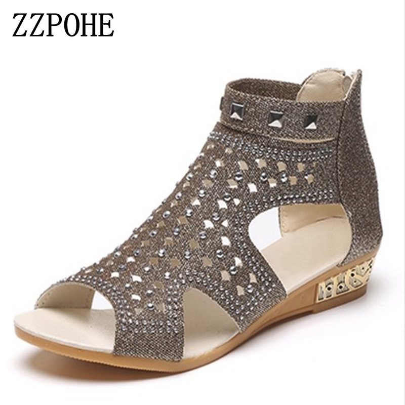 ZZPOHE Women's Sandals Woman Summer Shoes Women Fashion Wedges Low Heel Sexy Casual Comfortable Sandals Ladies Plus Size Shoes women sandals 2017 summer shoes woman flips flops gladiator wedges bohemia fashion rivet platform female ladies casual shoes