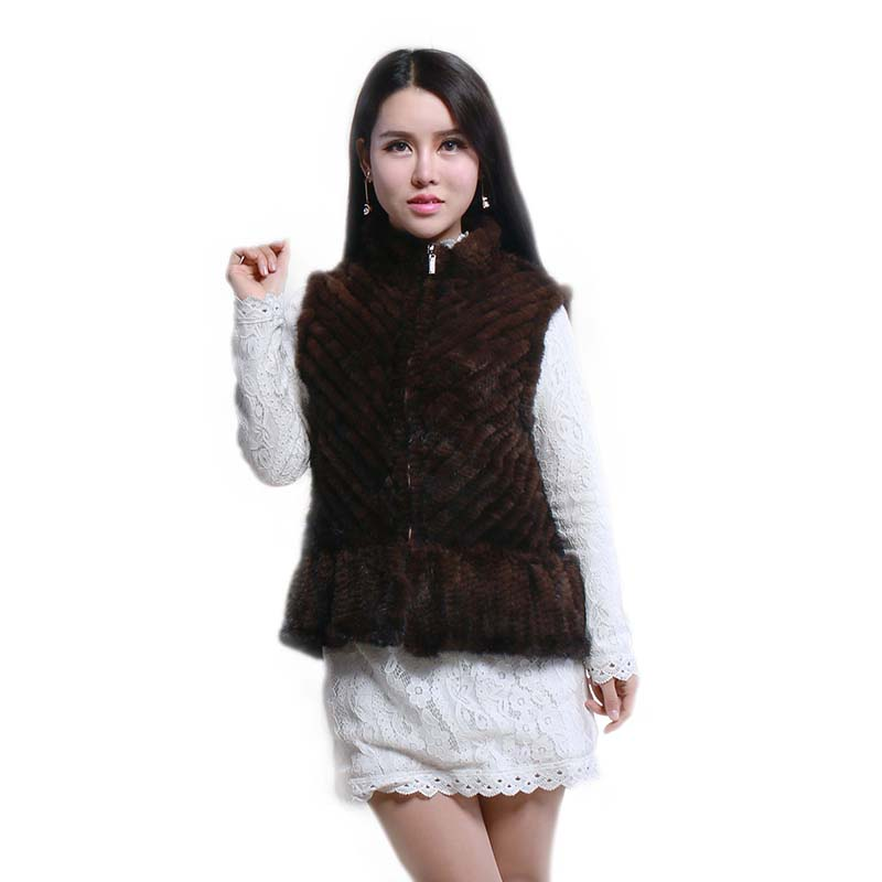 Hot mink fur vest Women short mink knitted vest fashion stand collar mink leather vests