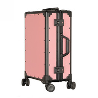 Pink Leather Pattern Small Carry On Suitcase Retro Style Aluminum Frame Luggage 20 Inches Women Carry Ons Hardside Luggage
