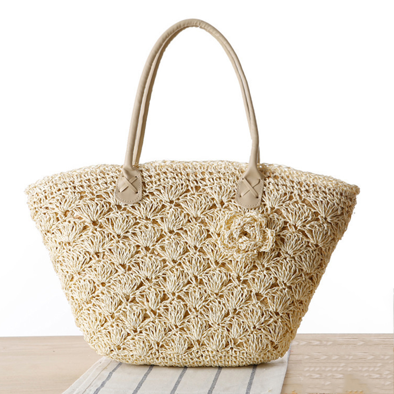 MISS YING 2017 Summer Beach Bag Women Handmade Woven Straw Shell Hook Flower Shoulder Bag Female High Quality Traveling Tote Bag handmade flower appliques straw woven bulk bags trendy summer styles beach travel tote bags women beatiful handbags