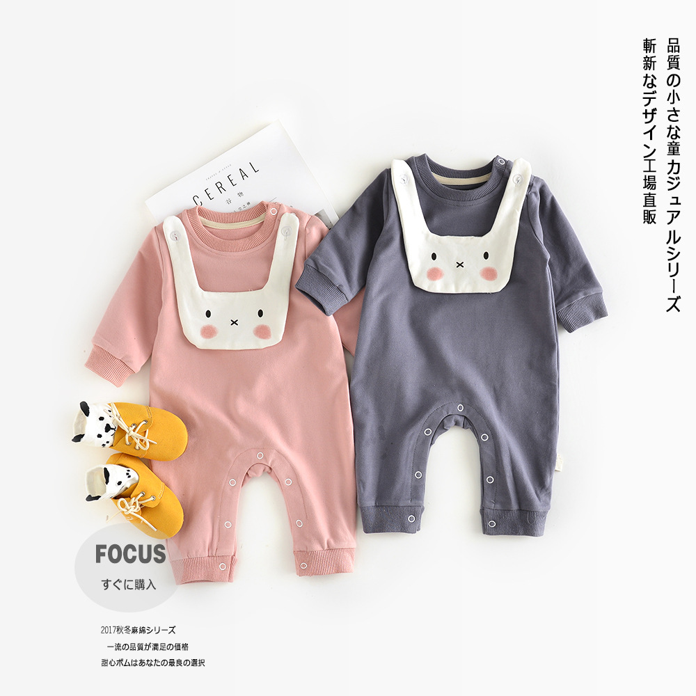 2017 Newborn Clothes Long Sleeve Romper Jumpsuit Character Rabbit Cotton O Neck Pullover Casual Baby Girl