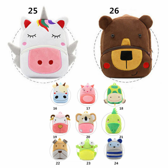 11 Colors Kids Plush Backpack Cute Animal Children Mini School Bag Kindergarten Baby Boy Girl Small Shoulder Birthday Gift