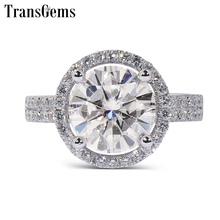 Transgems Solid 14K 585 White Gold Center 2ct 8MM F Color Halo Moissanite Engagement Ring for Women Rings with Accents