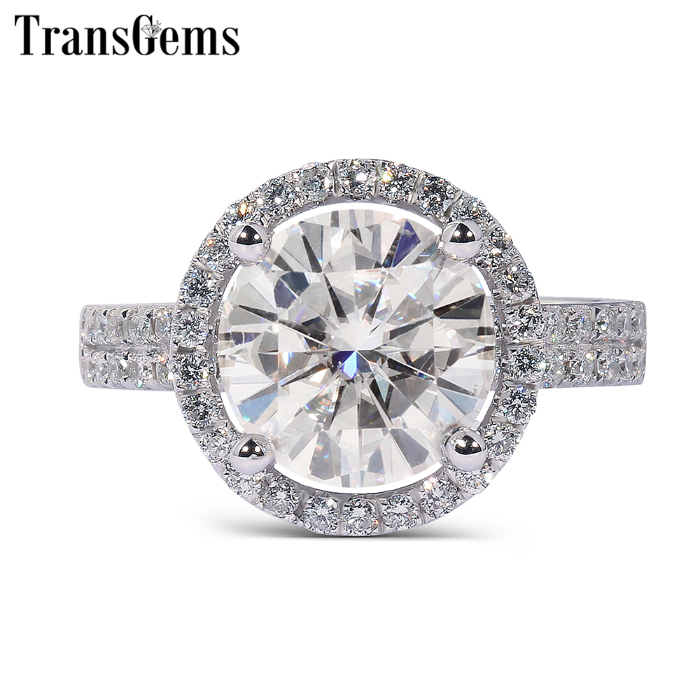 Transgems Solid 14K 585 White Gold Cneter 2ct 8MM F Color VVS Halo Moissanite Engagement Ring for Women Gold Rings with Accents цены онлайн